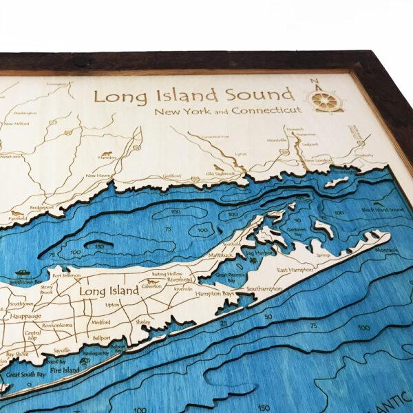 Long Island: Long Island Sound / The Hamptons 3D Nautical Wood Map