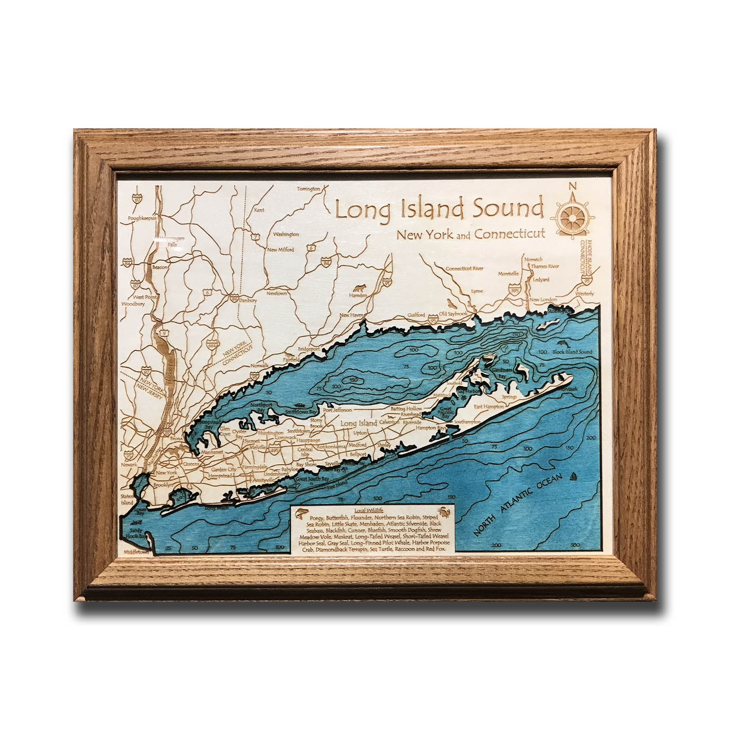 Long Island Sound laser-etched wood map, laser-printed poster wall art