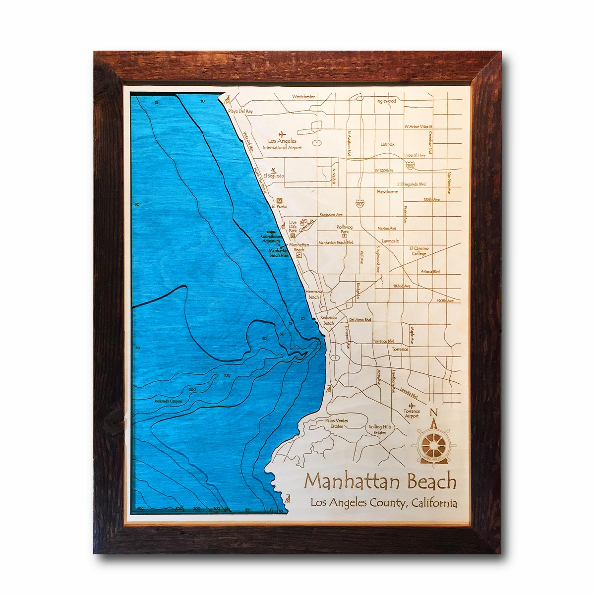 Manhattan Beach Nautical Wood Map
