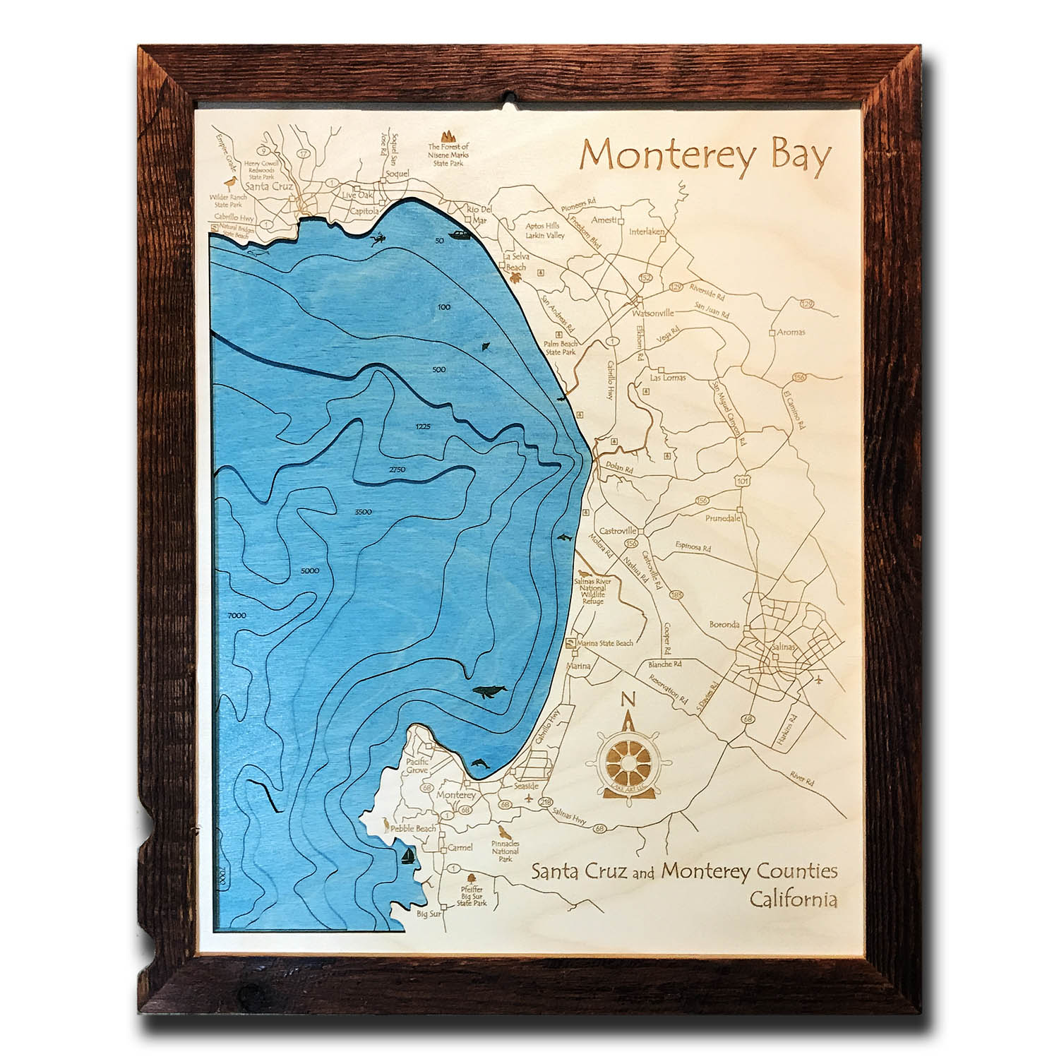 Monterey Bay Nautical Wood Map