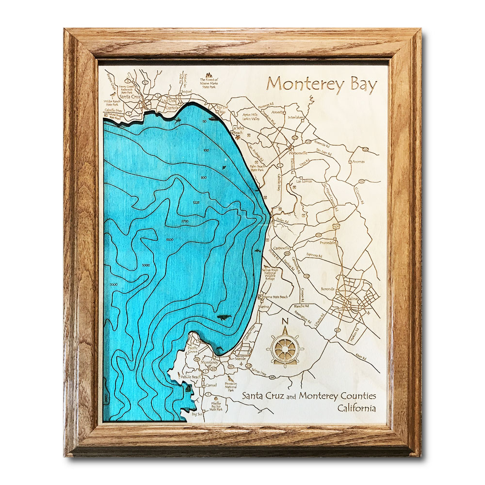 Monterey Bay California laser-etched wood map, laser-printed poster wall art