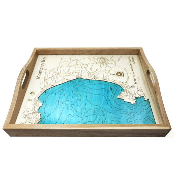 Monterey Bay Wood Map Serving Tray