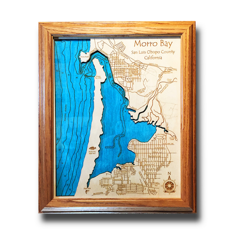 Morro Bay California laser-etched wood map, laser-printed poster wall art