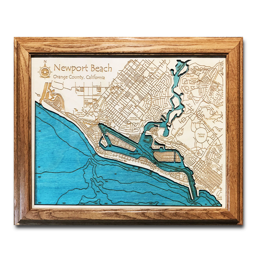 Newport Beach laser-etched wood map