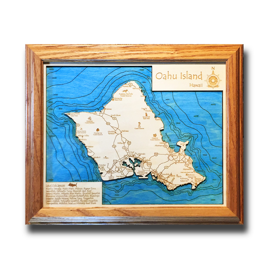 Oahu laser-etched wood map, laser-printed poster wall art