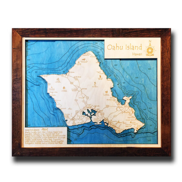 Oahu Nautical Wood Map, Framed Art, Home Decor