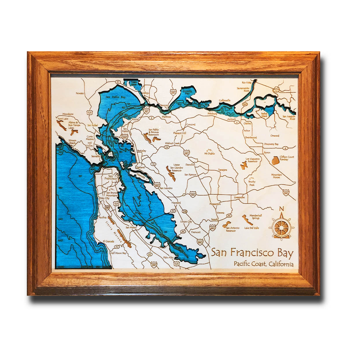 San Francisco Bay laser-etched wood map, laser-printed poster wall art