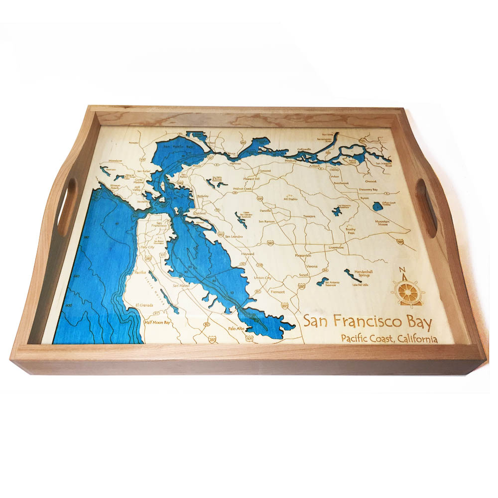 San Francisco Wood Map Serving Tray