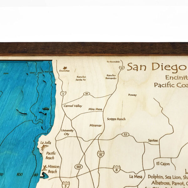 San Diego Coastline Ca 3d Nautical Wood Map Barnwood Frame 14 X 18