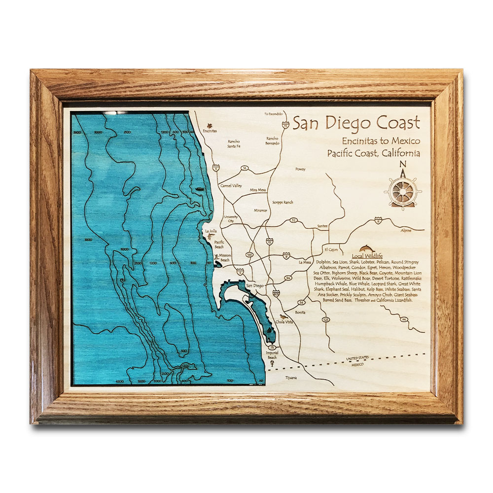 San Diego Coast laser-etched wood map, laser-printed poster wall art