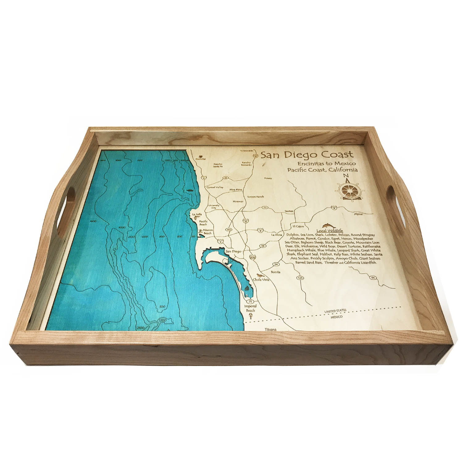 San Diego Coast Wood Map Serving Tray