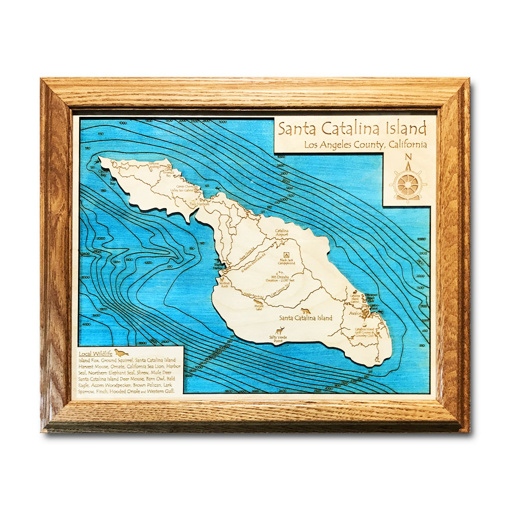 Catalina Island California laser-etched wood map, laser-printed poster wall art
