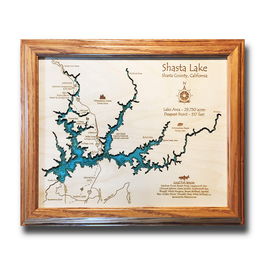 Shasta Lake California laser-etched wood map, laser-printed poster wall art