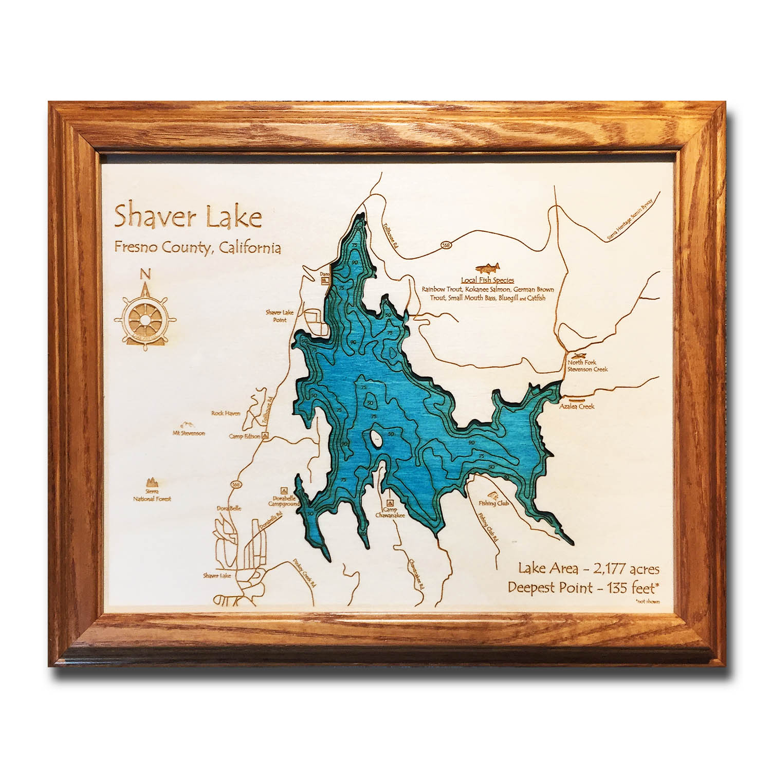 Shaver Lake California laser-etched wood map, laser-printed poster wall art