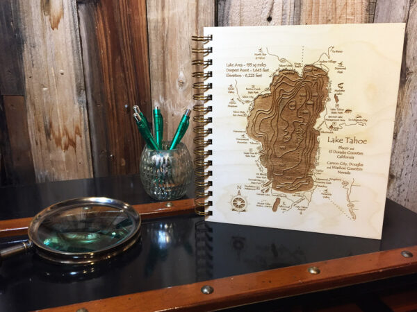 Lake Tahoe Wood Journal on Bookshelf, home decor