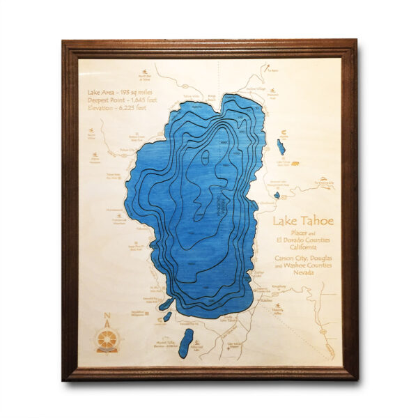 Lake Tahoe Nautical Wood Map