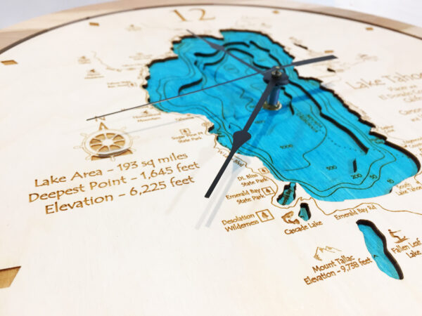 Lake Tahoe wooden clock depth chart