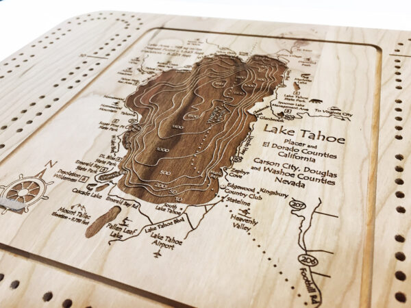 Lake tahoe wooden cribbage board