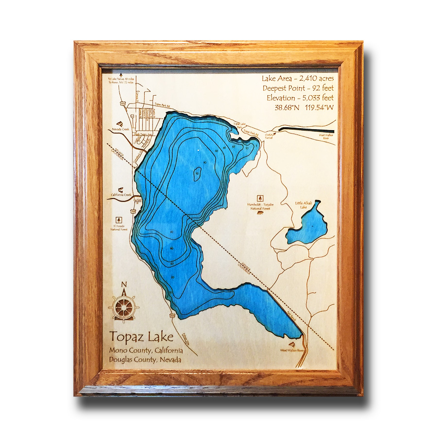 Topaz Lake laser-etched wood map, laser-printed poster wall art