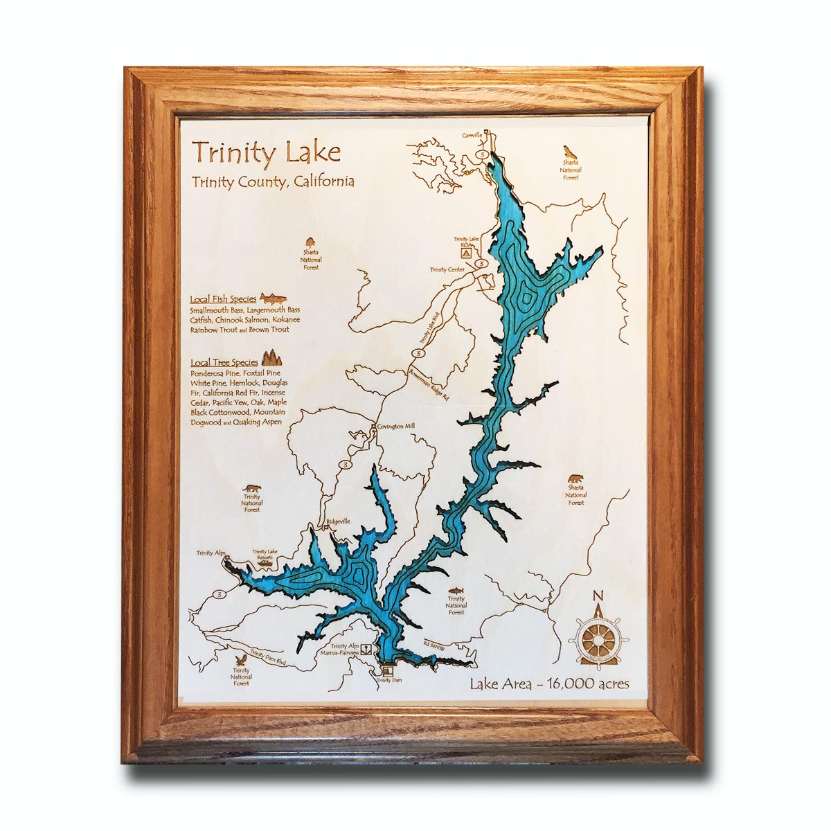 Trinity Lake California laser-etched wood map, laser-printed poster wall art