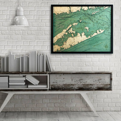 Long Island Sound wood map the Hamptons Long Island Poster