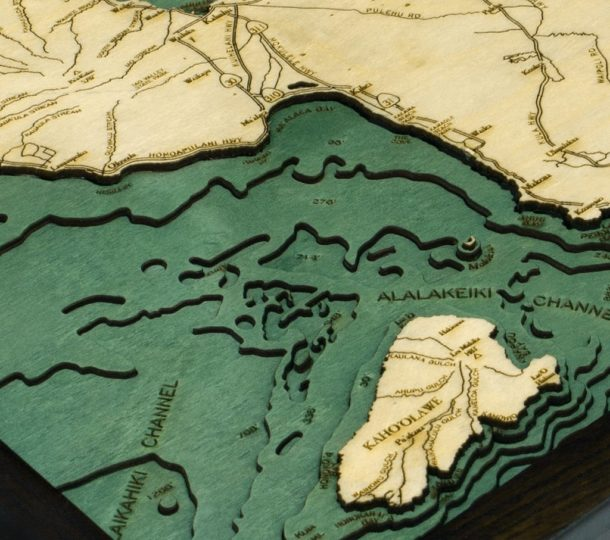 Topographic Map Of Maui.Maui 3d Nautical Wood Map Topographic Cart 16 X 20