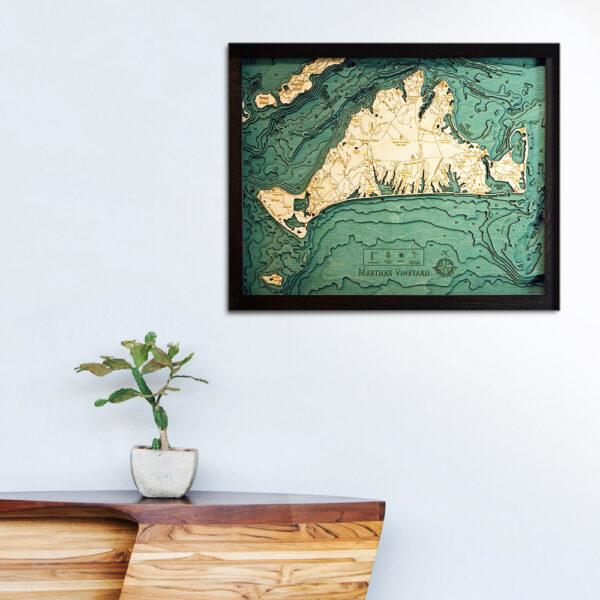 Marthas Vineyard 3D wood map poster