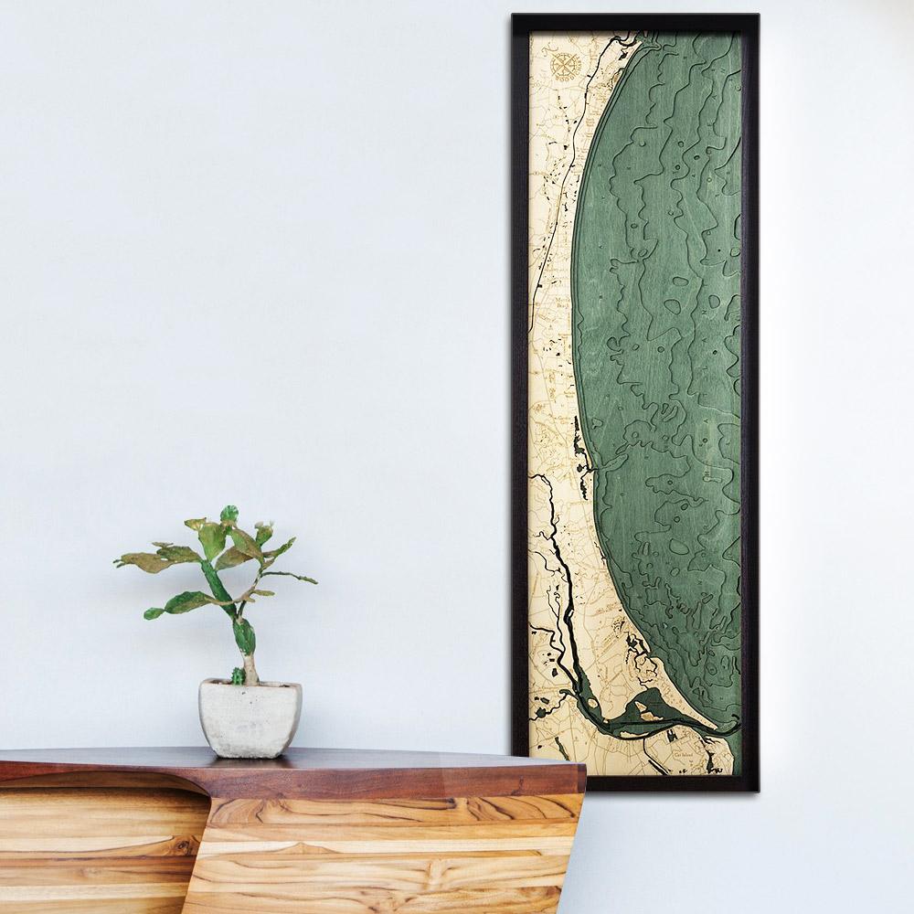 Myrtle Beach 3D Wood Map, Wood Chart, 13.5