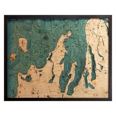 Grand Traverse Bay 3D Wood Map