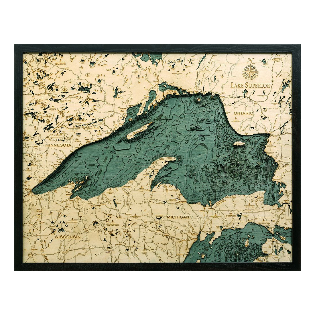Lake superior d nautical wood map quot on tahoe
