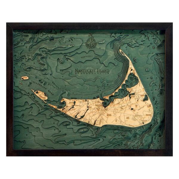 Nantucket, Massachusetts 3D Wood Map