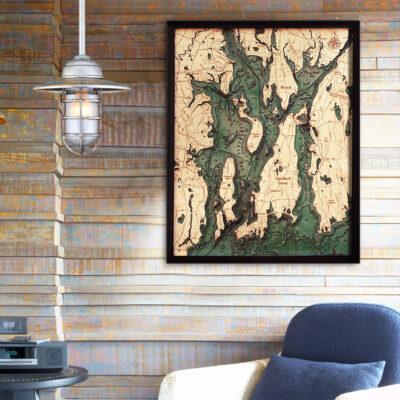 Narragansett & Newport Rhode Island Wood Map