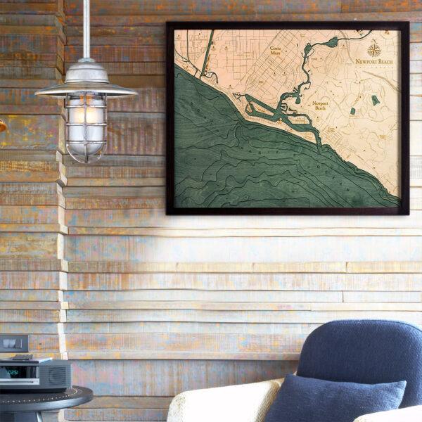 Newport Beach CA 3d wood map, Newport Beach poster
