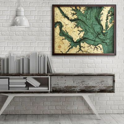 Norfolk Virginia Beach 3d Wood Map, poster