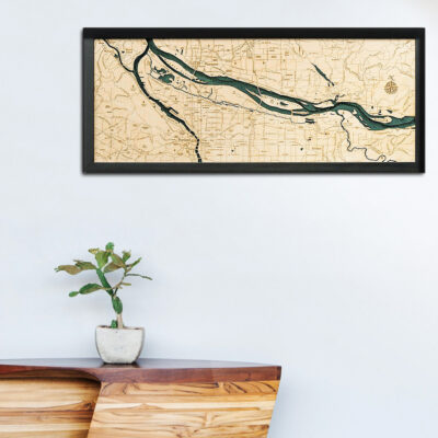 Portland Oregon 3d wood map, Portland Oregon Poster