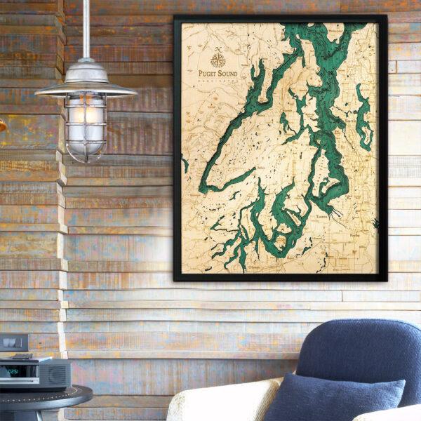 Puget Sound 3d wood map, Puget Sound poster