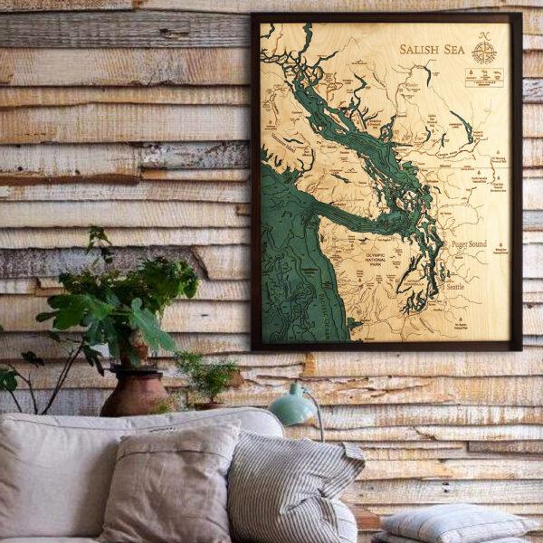 Salish Sea 3d wood map, Salish Sea poster