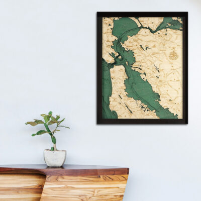 San Francisco wood map poster in 3d
