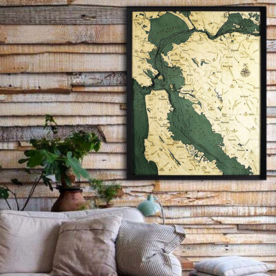 San Francisco 3d wood map, San Francisco poster wall art