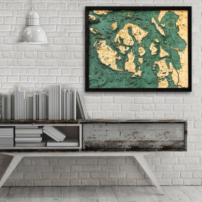 San Juan Islands 3d wood map, San Juan Islands poster