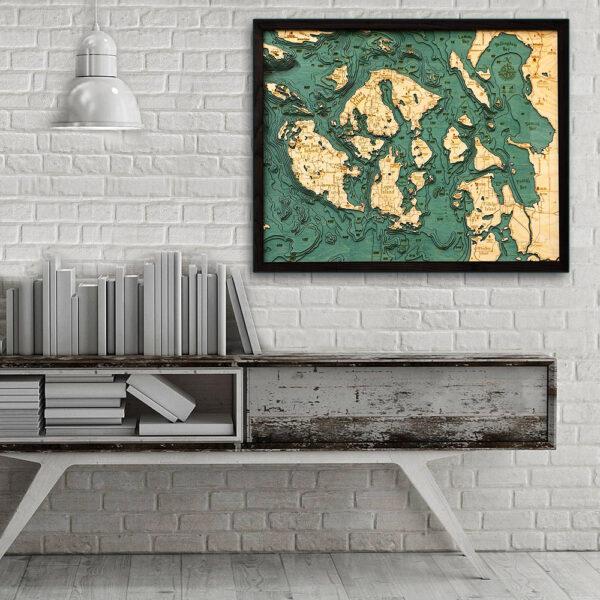 San Juan Islands 3d wood map, San Juan Islands poster