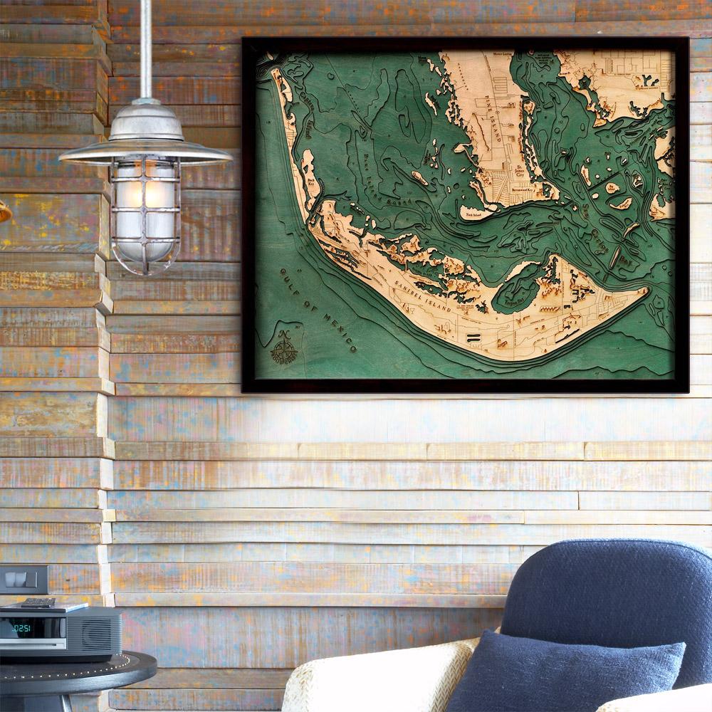 Map Of Sanibel Island Florida.Sanibel Island Florida Wood Map 3d Wood Chart 24 5 X 31