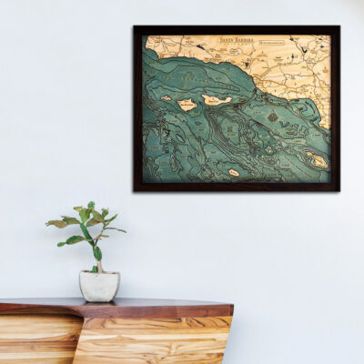 Santa Barbara Channel Islands 3d wood map