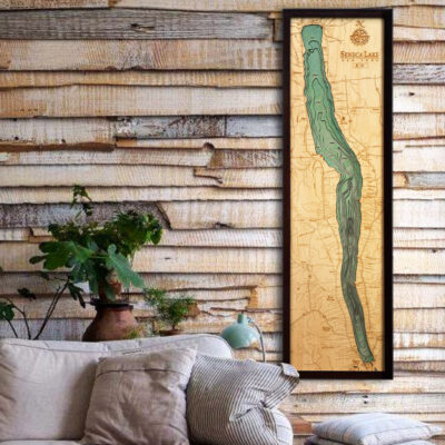 Seneca Lake 3d wood map, Seneca Lake poster