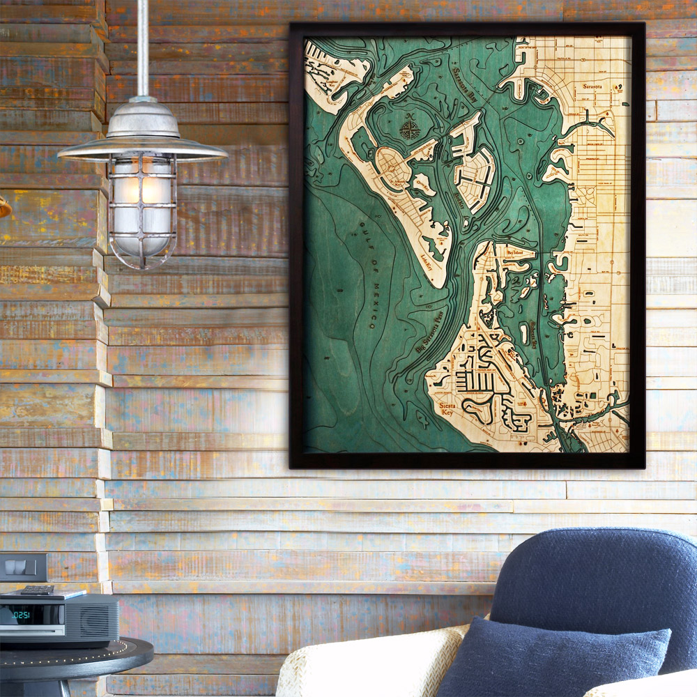 Siesta Key Wood Map Framed 3d Topographic Wood Chart