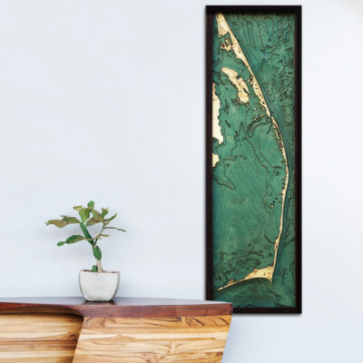 Outer Banks 3d wood map, Outer Banks poster