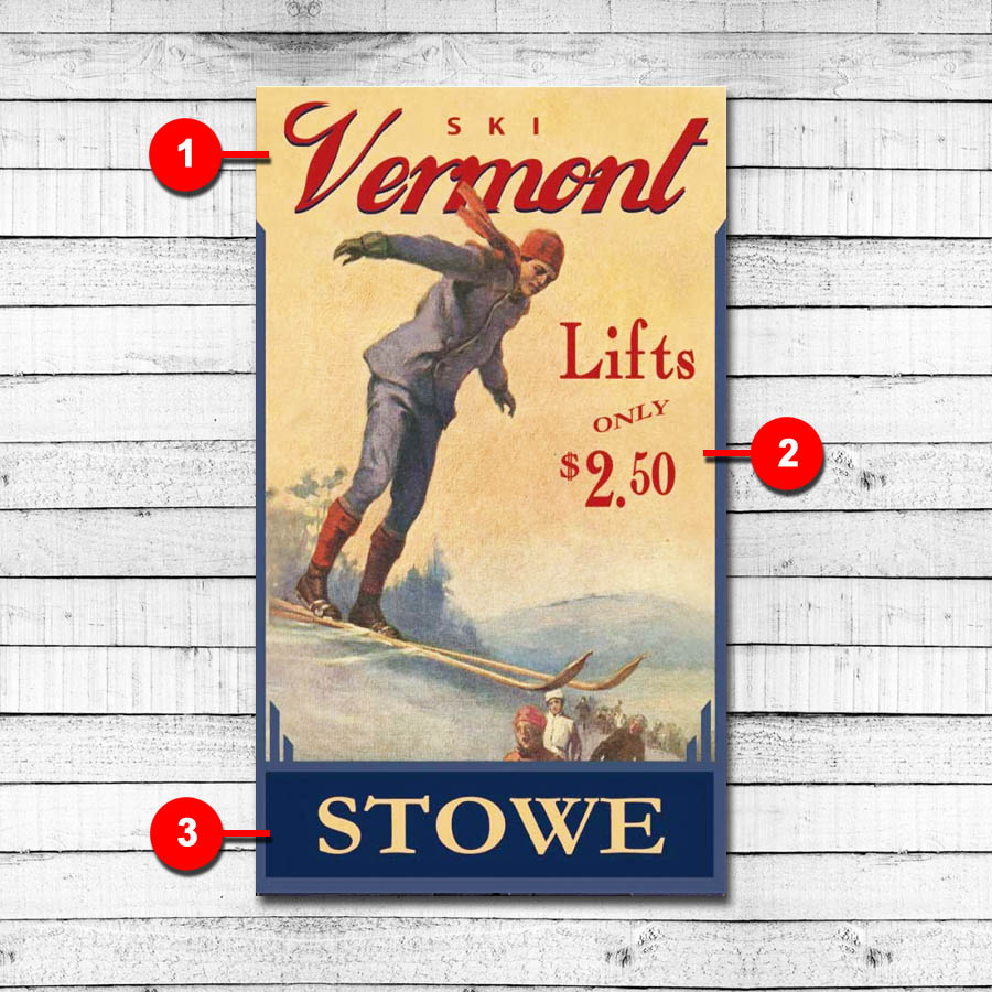 Stowe Vermont Personalized Ski Sign