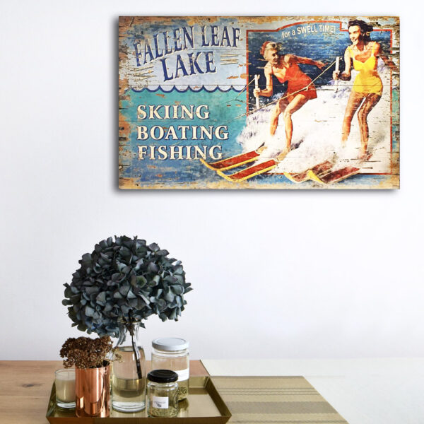 Water Ski Personalized Sign, Lake House Decor, Nautical Wall Art, Water Ski Art