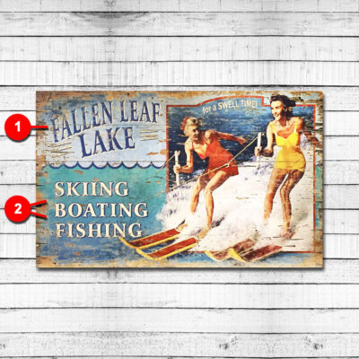 Water Skiing Personalized Lake Sign