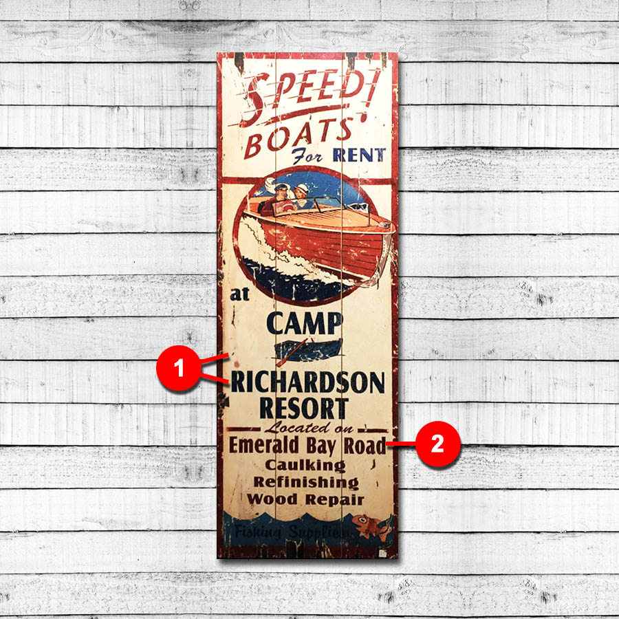 Speed Boats Personalized Lake Sign, Boating